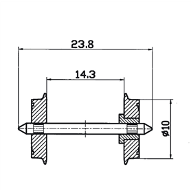 Roco 40180 Hjulaxel, 2 st, DC, 10 mm hjuldiameter, axellängd 23,8 mm, hjuldiameter