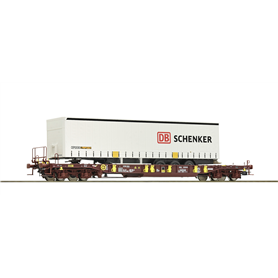 "Roco 76220 Flakvagn med last av trailer Sdgmns 33 typ AAE ""DB Schenker"""
