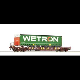 "Roco 76232 Flakvagn med last av trailer Sdgmns 33 typ ""Wetron"""