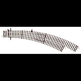 Roco 42471 Kurvväxel, höger, manuell, R5/6 30°. Radie 5, 542,8 mm, radie 6, 604,4 mm