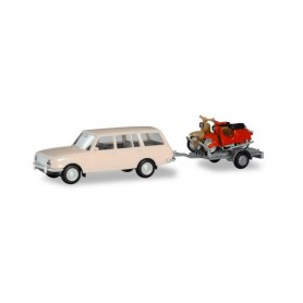 Herpa 420419 Wartburg 353 `66 Tourist with trailer and 2 Simson