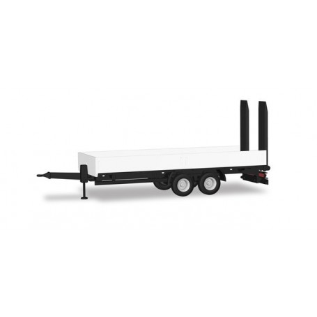 Herpa 076913 Deep loading trailer with ramps, white