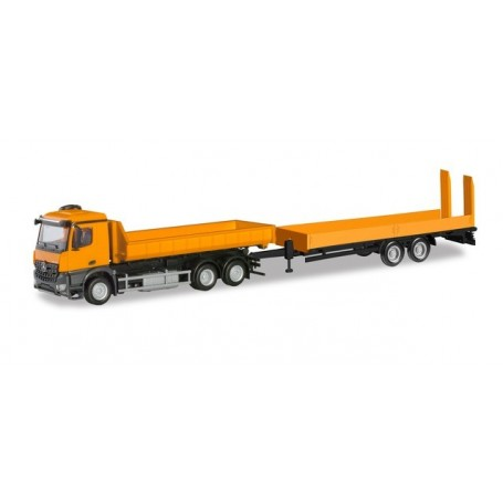 Herpa 310772 Mercedes-Benz Arocs M roll off truck with deep loading trailer with ramps