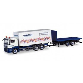 Herpa 310918 MAN TGS L interchangeable truck with flat trailer 'Wasel Krane' (Nordrhein-Westfalen | Bergheim)