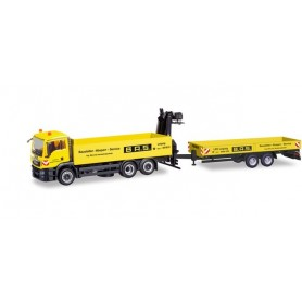 Herpa 310840 MAN TGS M platform truck with deep loading trailer with loading crane 'B.A.S.' (Sachsen | Leipzig)