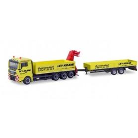 Herpa 310741 MAN TGX XL Euro 6c platform truck with crane and deep loading trailer ?Ley Krane Gummersbach? (Nordrhein-Westfal...