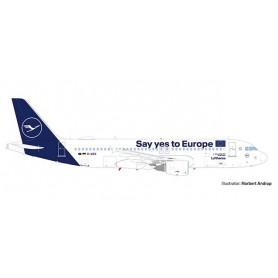 Herpa 559997 Flygplan Lufthansa Airbus A320 'Say yes to Europe' 'Sindelfingen'