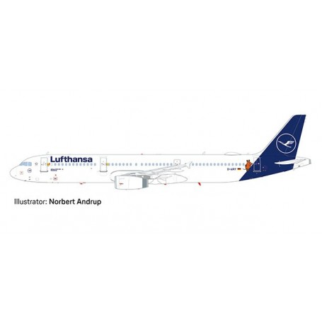 Herpa Wings 612432 Flygplan Lufthansa Airbus A321 'Die Maus'