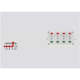 Märklin 7271 Kontrollpult med repetering, med 8 ingångar för anslutning av 4 tvåspoliga magnetartiklar.