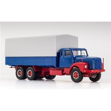 VK Modelle 77015 Scania LS 111 med flak och kapell 3-axlig med Trilexhjul, blå