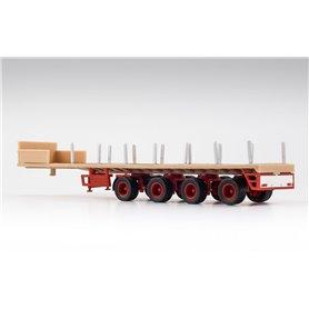 VK Modelle 02481 Ballasttrailer 4-axlig, beige/röd