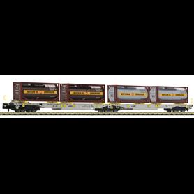"""Fleischmann 825007 Dubbel containervagn T2000 AAE """"Bertschi"""""""