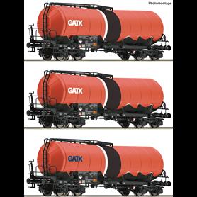 """Roco 76088 Vagnsset med 3 tankvagnar Zaes """"GATX"""""""