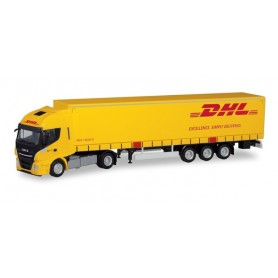 Herpa 311151 Iveco Stralis XP curtain canvas semitrailer 'DHL'