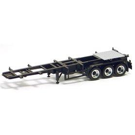 Herpa 480107 Trailer 30-fots, 3-axlig, svart med kromade/svarta fälgar (Herpa)