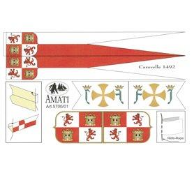 Amati 5700.01 Flaggor, självhäftande tyg, för Caravelle 1492, 1 set