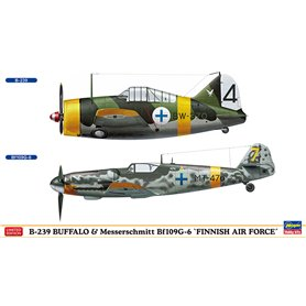 "Hasegawa 02279 Flygplan B-239 BUFFALO & Messerschmitt Bf109G-6 ""FINNISH AIR FORCE"" (2 kits in the box)"