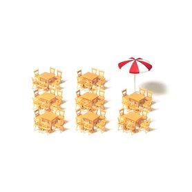 Preiser 17201 Bord 8 st, stolar 48 st och 1 parasoll