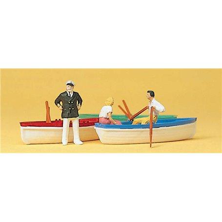 Preiser 10072 Båtar 3 st, med figurer