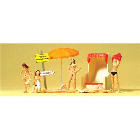 Preiser 10107 Nudistbadare med tillbehör