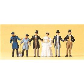 Preiser 12046 Lokförare och passagerare, 1850-tals klädda, 6 st