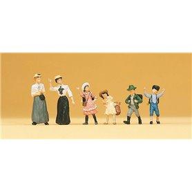 Preiser 12194 Barn och kvinnor, 1900-tals klädda, 6 st