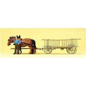 Preiser 30416 Hästar med kärra och bonde samt last
