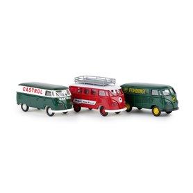 Brekina 90473 Set med 3 st VW Transporter 'Rennstrecke' 'BP' Castrol'
