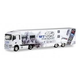 Herpa 311243 Renault T box semitrailer 'SFT Transporte | Partyauflieger'