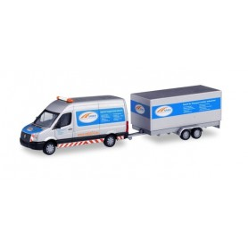 Herpa 095068 Volkswagen Crafter box high roof with tandem trailer 'SABA Transportservice'