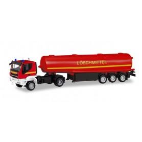Herpa 311328 Iveco Trakker 4x4 tank semitrailer 'Fire Department extinguishing agent'