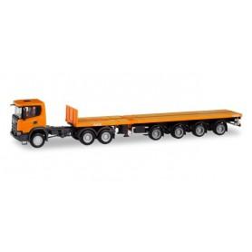 Herpa 311403 Scania CG 17 XT 6x4 teletrailer semitrailer, communal orange