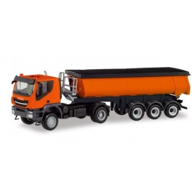 Herpa 311373 Iveco Trakker 4×4 thermal insulation trough semitrailer, communal orange