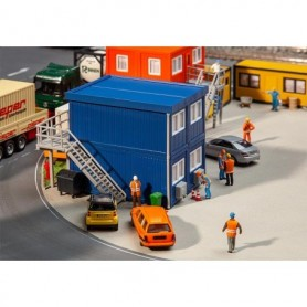 Faller 130134 4 Building site containers, blue
