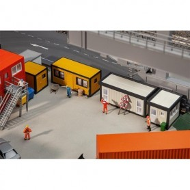 Faller 130136 4 Building site containers, black-yellow | grey-black