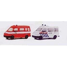 "Rietze 16029 Ford Transit ""Politie"" och Ford Transit ""Rettungswagen"" 2-Pack"