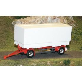 AMW 90620 Trailer 2-axligt med container växelflak kapell 7,15 m, vit, omärkt, kromade hjul
