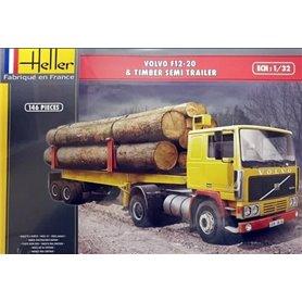 Heller 81704 Volvo F12-20 & Timber Semi Trailer