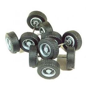 Rietze 70086 Hjulaxlar med fälgar, svart, för lastbilstrailer, 1-sats
