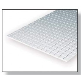 Evergreen 4504 Plasticard plattor, höga, 1.0 mm, plattor 4.2 x 4.2 mm, 1 st, mått 15 x 30 cm