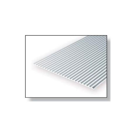 Evergreen 4525 Plasticard korrugerad plåt, 1.0 mm, avstånd 0.75 mm, 1 st, mått 15 x 30 cm