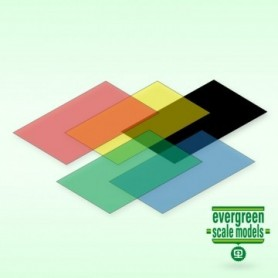 Evergreen 9905 Plasticard röd, blå, grön, gul och svart, transparent 0.25 mm, 1 av varje, mått 15 x 30 cm
