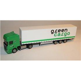 """AHM AH-827 Bil & Trailer Scania med 3-axlig släp """"Green Cargo"""""""
