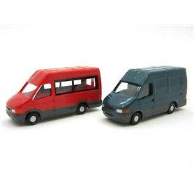 Rietze 16069 Iveco Daily Bus, 2-pack, röd och mörkblå