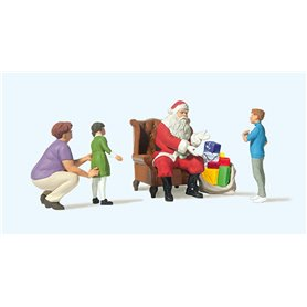 Preiser 10763 Jultomten sittandes i stol, 4 figurer med tillbehör