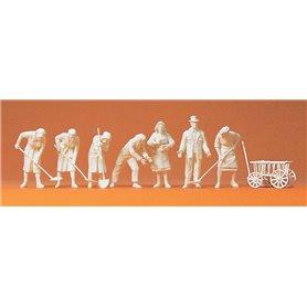Preiser 16568 Figurer Kvinnor som gräver i ruiner, 7 st omålade figurer