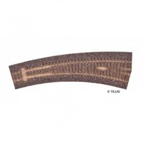 Tillig 86519 Rälsbädd mörkbrun Tillig Elite för högerväxel IBW 20,7 R778