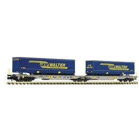 """Fleischmann 825021 Dubbelvagn T2000 AAE AG 31 80 4933 303-5 med last av 2 trailers """"LKW Walter"""""""