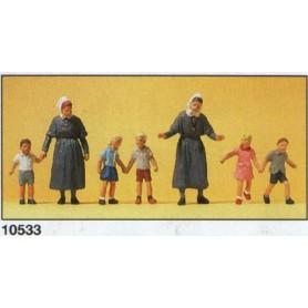 Preiser 10533 Nunnor och barn, 7 st