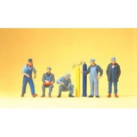 Preiser 10535 Rälsläggningsarbetare, 5 st med tillbehör